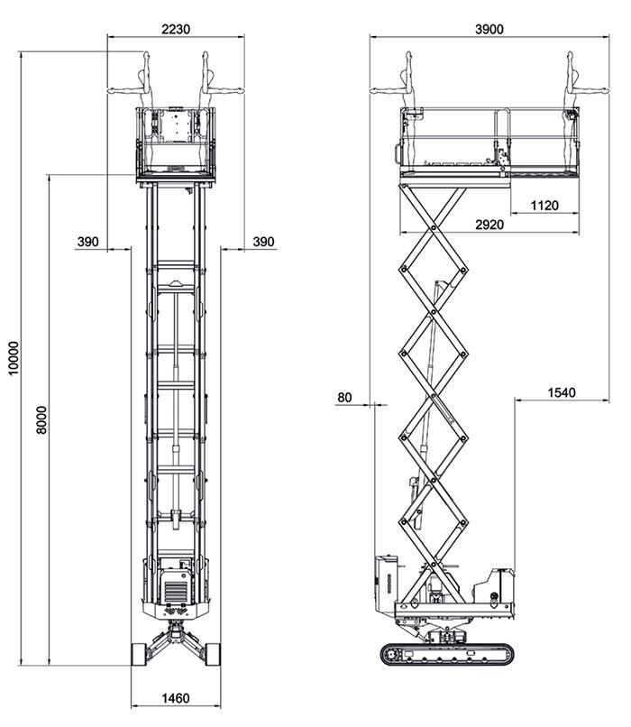 Piattaforma Semovente a Cingoli Verticale VDC 10 ALMAC BIBI 1090