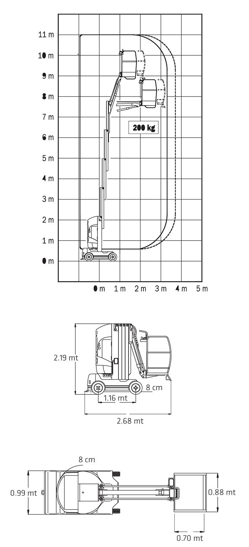 Piattaforma Semovente Verticale Elettrica con Braccio VEB 11 JL - TOUCAN 1100