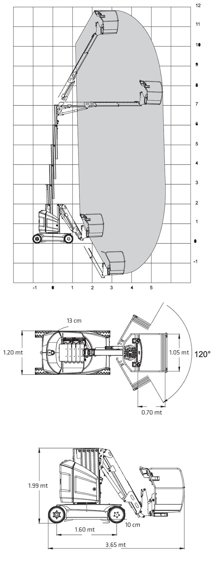 Piattaforma Semovente Verticale Elettrica con Braccio VEB 12 JL - TOUCAN 12E PLUS
