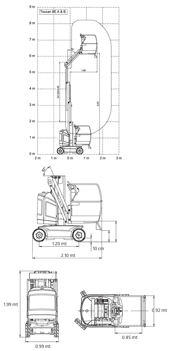 Piattaforma Semovente Verticale Elettrica con Braccio VEB 8 JL - TOUCAN 8E