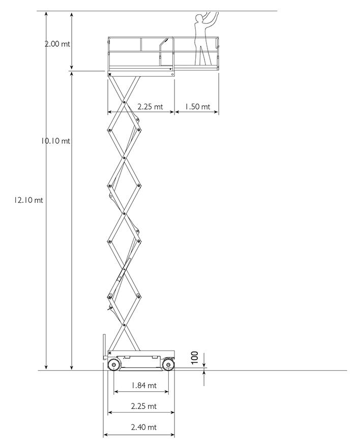 Piattaforma Semovente Verticale Elettrica VE 12 AI - X 12 EN